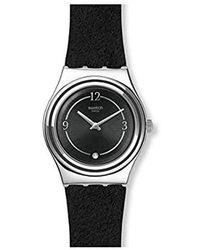 Swatch Analog Schweizer Quarz Uhr mit Echtes Leder Armband YLS214 - Schwarz