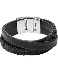 Fossil Armband Multi-Strand Leather - Schwarz