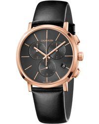 Calvin Klein Orologio Cronografo Quarzo Uomo con Cinturino in Pelle K8Q376C3 - Nero