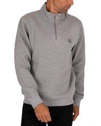 Calvin Klein Ck Essential Mock Neck Jumper - Grey