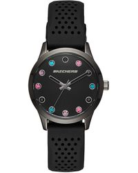 Skechers Stripe Texture Silicone Quartz Watch With Strap, Black, 18 (model: Sr6086)
