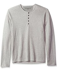 John Varvatos - Long Sleeved Henley With Neck Facing And Continuou - Lyst