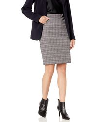 Nine West Knit Plaid Skirt - Black