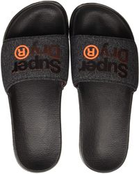 Superdry Lineman Pool Slide - Noir