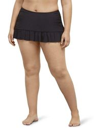 Kenneth Cole Reaction Plus-size Ruffle Shuffle Rouched Skirted Bottom - Black