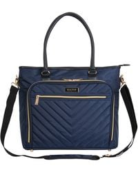 """Kenneth Cole Reaction Chelsea Quilted Chevron 15"""" Laptop & Tablet Business Tote With Removeable Shoulder Strap - Blue"""