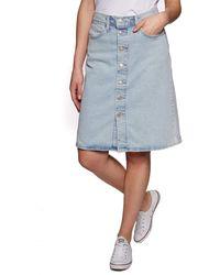 Levi's A Line Midi Button Skirt Falda - Gris