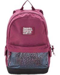 Superdry Leopard Mesh Pocket Montana Backpack Bag Dark Purple