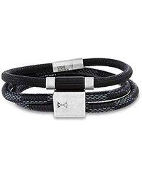 """Steve Madden Woven Blue Leather 7.5"""" Wrap Bracelet for in Stainless Steel - Schwarz"""