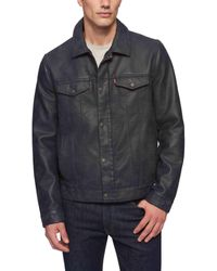 Levi's S Smooth Lamb Touch Faux Leather Classic Trucker Jacket Long Sleeve Faux Leather Jackets - Multicolor