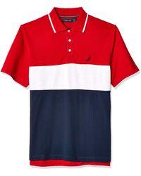 Nautica Short Sleeve 100% Cotton Pique Color Block Polo Shirt - Red