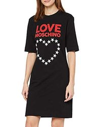 Love Moschino Short Sleeve Stretch Fleece Dress_Logo & Stars Heart Print Vestito Donna - Nero