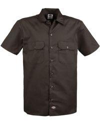 Dickies Big And Tall Short Sleeve Work Shirt - Brown