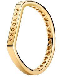 PANDORA Stacking-Ring mit Logo Sterling-Silber in Gold Größe 48 - Mettallic