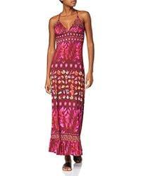 Desigual Dress Straps Greta Woman Purple Robe Femme - Rouge
