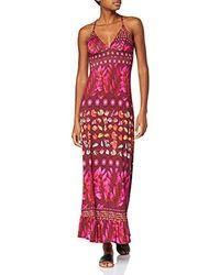 Desigual Kleid Dress Straps Greta Woman Purple - Rot