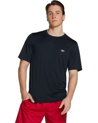 Speedo Short Sleeve Easy Rash Guard Swim Shirt With Uv And Upf 50+ Protection Black