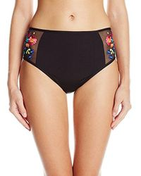 Kenneth Cole Reaction - Garden Groove Floral Embroidered High Waist Bikini Bottom - Lyst