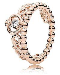 PANDORA Jewelry - Anillo de corona de princesa para mujer en rosa con circonita cúbica transparente - Metálico