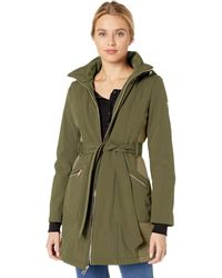 Guess Belted Softshell Coat With Hood - Purple