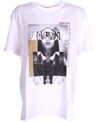 Replay T-shirt White Medium