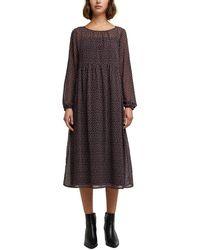 Edc By Esprit Recycelt: Midi-Kleid aus Chiffon - Schwarz
