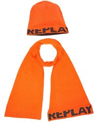 Replay Am8007.000.a7059 Scarf And Hat - Orange