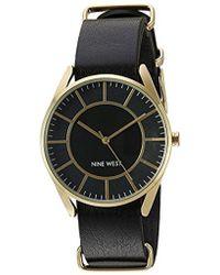 Nine West - Nw/1942bkbk Gold-tone Slip Through Black Strap Watch - Lyst