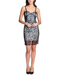 Guess S Lace Bustier Sheath Dress - Blue