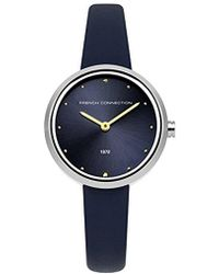 French Connection - Quartz Metal And Leather Casual Watch, Color:blue (model: Fc1299u) - Lyst