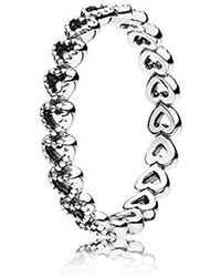 PANDORA Anillo plata corazones - Metálico