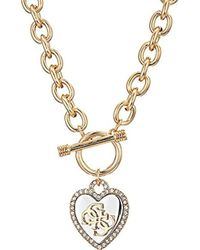 Guess - S Pave Framed Heart Toggle Necklace With 4 G Logo - Lyst