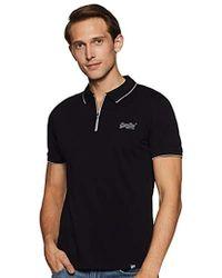 Superdry City Sport Zip Polo Shirt Hombre - Negro