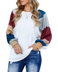 HIKARO T Shirts S Colour Block Long Lantern Sleeve Tops Crew Neck Striped Blouse Size 16 White