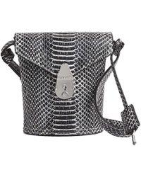 Calvin Klein MINI BORSA A SECCHIELLO IN PELLE DONNA COLORE BLACK & WHITE SNAKE - Nero