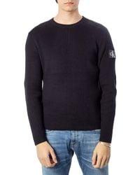 Calvin Klein Monogram Sleeve Badge Cn Sweater Suéter - Negro