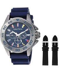Nautica Homme Analogique Quartz Montre avec Bracelet en Silicone NAPMIA008 - Bleu