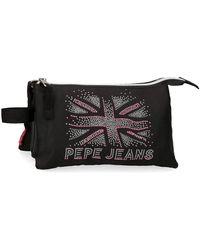 Pepe Jeans Ada Estuche Tres Compartimentos Negro 22x12x5 cms Poliéster