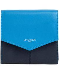 Le Tanneur Petit portefeuille zippé Charlotte en cuir lisse - Bleu