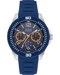Guess W0967G2 Reloj para hombre con pulsera de silicona - Azul