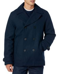 Amazon Essentials Wool Blend Heavyweight Peacoat Outerwear-Coats - Azul