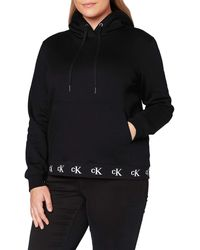 Calvin Klein Logo Trim Hoodie Maglione - Nero