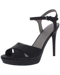 Guess S Jordie Metallic Glitter Dress Sandals Black 9.5 Medium - Noir