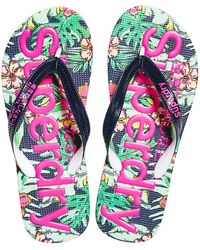 Superdry - AOP Flip Flop - Tongs - Femme - Multicolore (Tina Tropical I2x) - 40/41 EU (Taille Fabricant: - Lyst