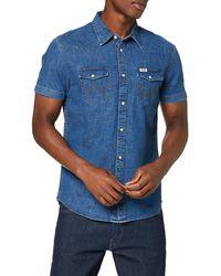 Wrangler SS Western Shirt Camicia in Jeans - Blu