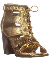 Guess S Portlyn Open Toe Casual Ankle Strap Sandals - Métallisé