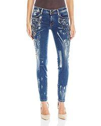 Just Cavalli - Studded Painted Skinny Leg Denim - Lyst