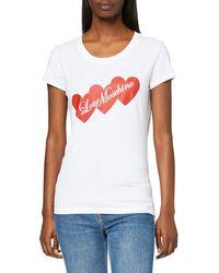Love Moschino T- Shirt Three-Hearts and Logo Print - Blanc