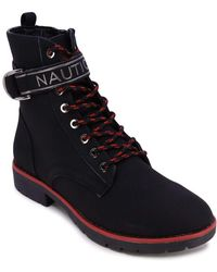 Nautica - S Hiking Boot with Strap Collar Lace-Up Cap-Toe Dress Ankle Bootie -Acacia-Black-8.5 - Lyst
