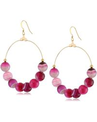 Kenneth Jay Lane - Gold Hoop Cherry Agate Bead Fishhook Earrings - Lyst